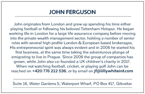 John Ferguson's business card